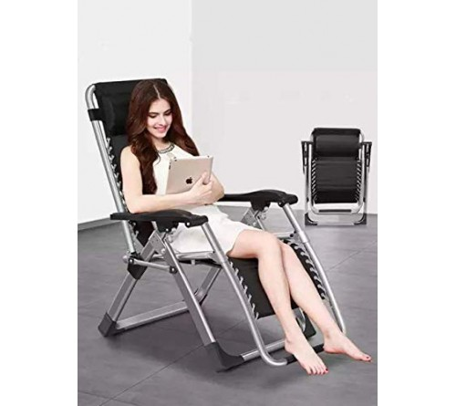 Zero Gravity Chair Fashion Modern Portable Folding Camping Chair Recliner Outdoor Folding Easy Chair (Medium, Black)