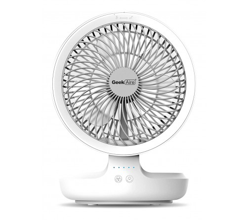 Geek Aire GF6, 8 Inch Rechargeable Mini Fan with 4000 mAh Battery and LED night light, works upto 16 hours (White)